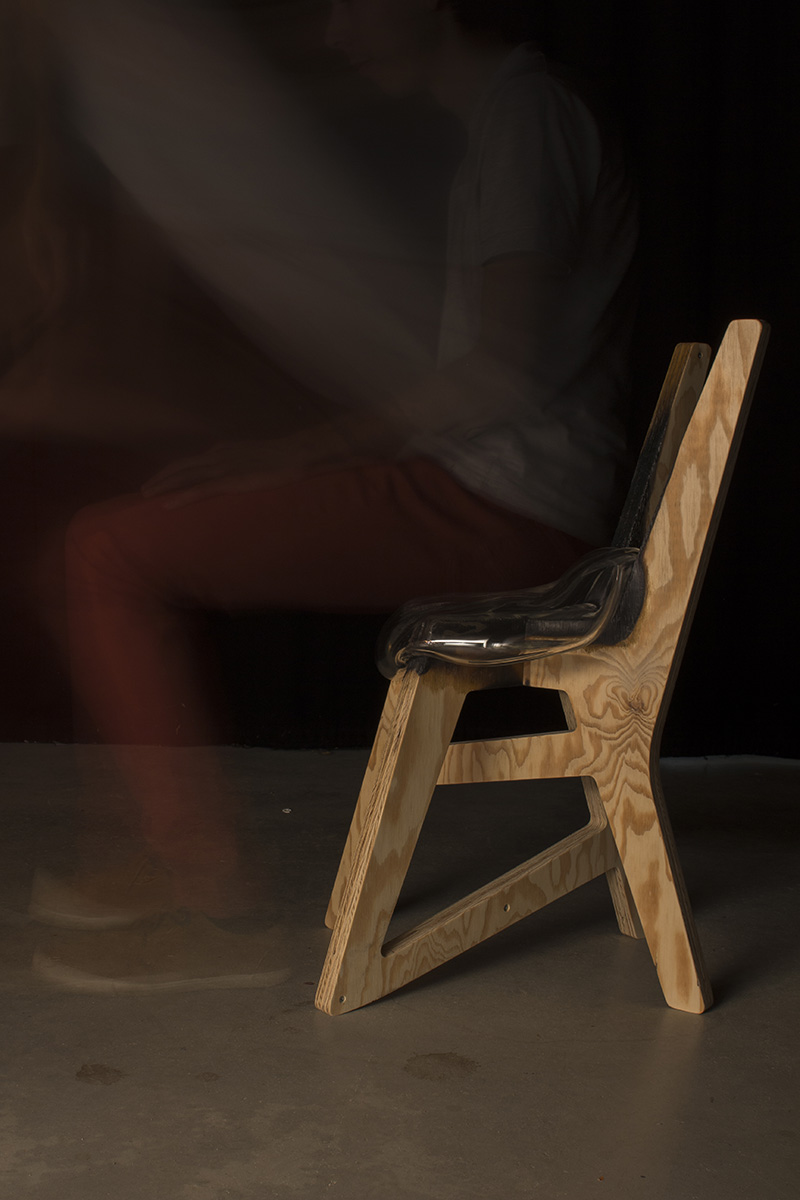 chaise bois verre souffle wood glass chair parametric design