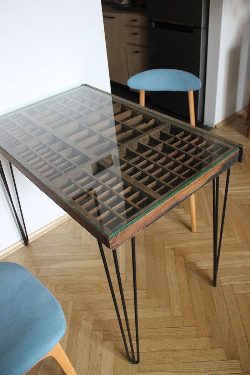 printer drawer table wood glass steel sticks